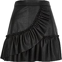 Black faux leather frill mini skirt