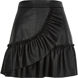Black faux leather frill mini skirt