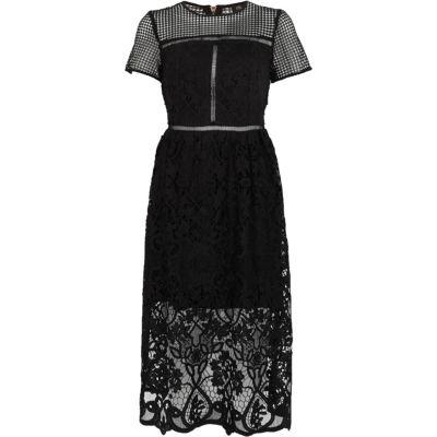 River Island Zwarte kanten getailleerde midi-jurk met bloemenprint