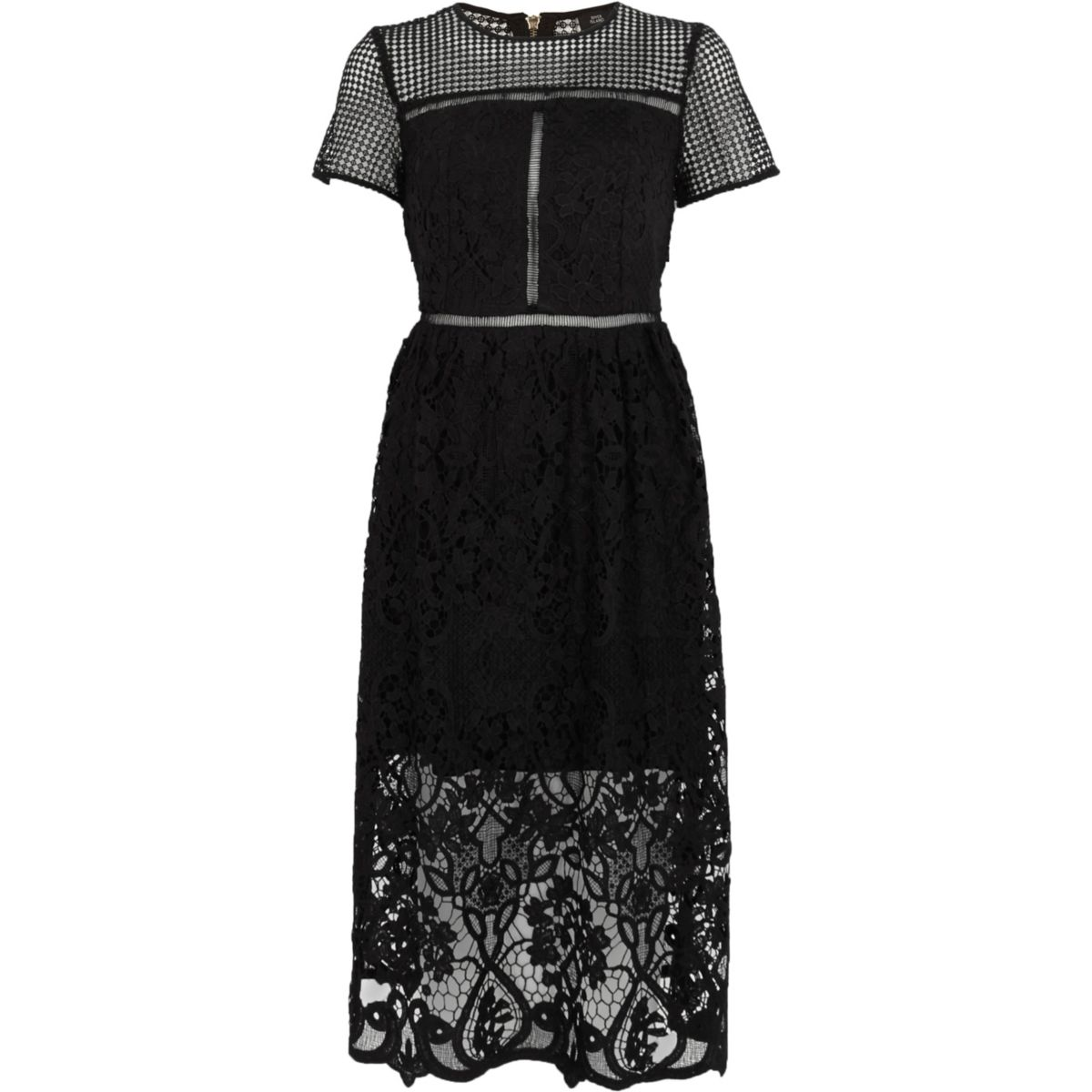 Black floral lace waisted midi dress