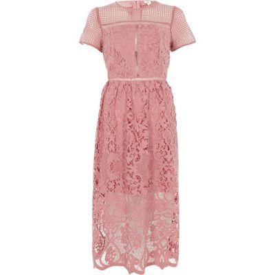 River Island Roze kanten getailleerde midi-jurk met bloemenprint
