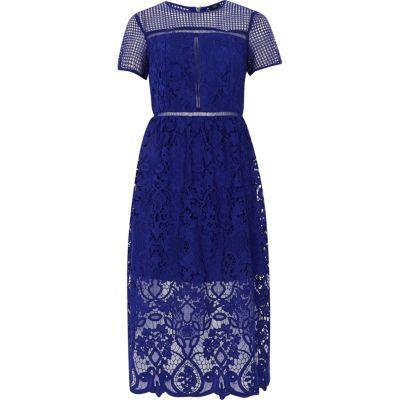 River Island Helderblauwe kanten getailleerde midi-jurk met bloemenprint