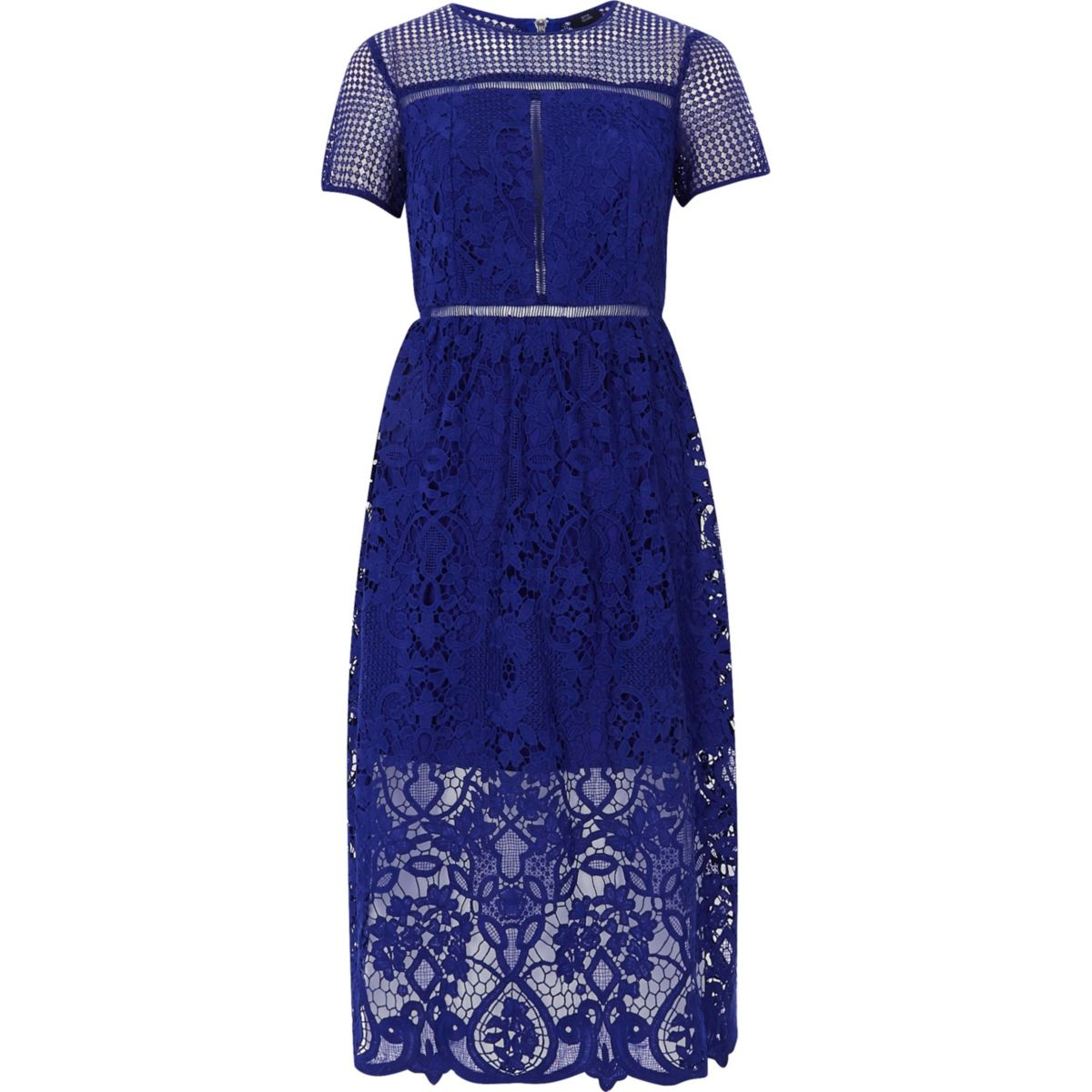 Bright blue floral lace waisted midi dress