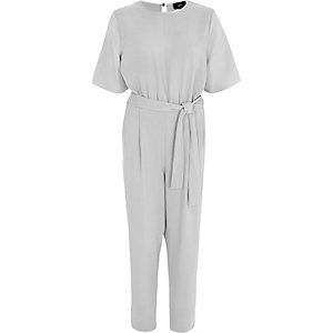 Light grey tie waist jumpsuit