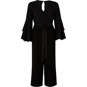 Black polka dot long sleeve culotte jumpsuit
