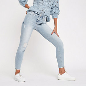 Molly - Lichtblauwe distressed skinny jegging