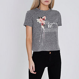 Petite – T-shirt gris à fleurs brodées
