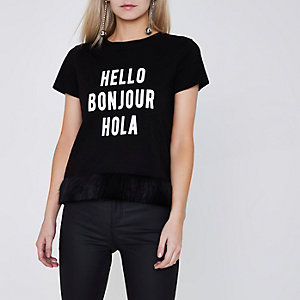 Petite black 'hello' faux fur trim T-shirt