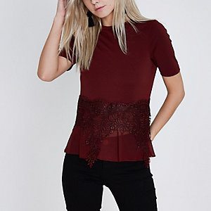 Petite burgundy lace sheer hem T-shirt