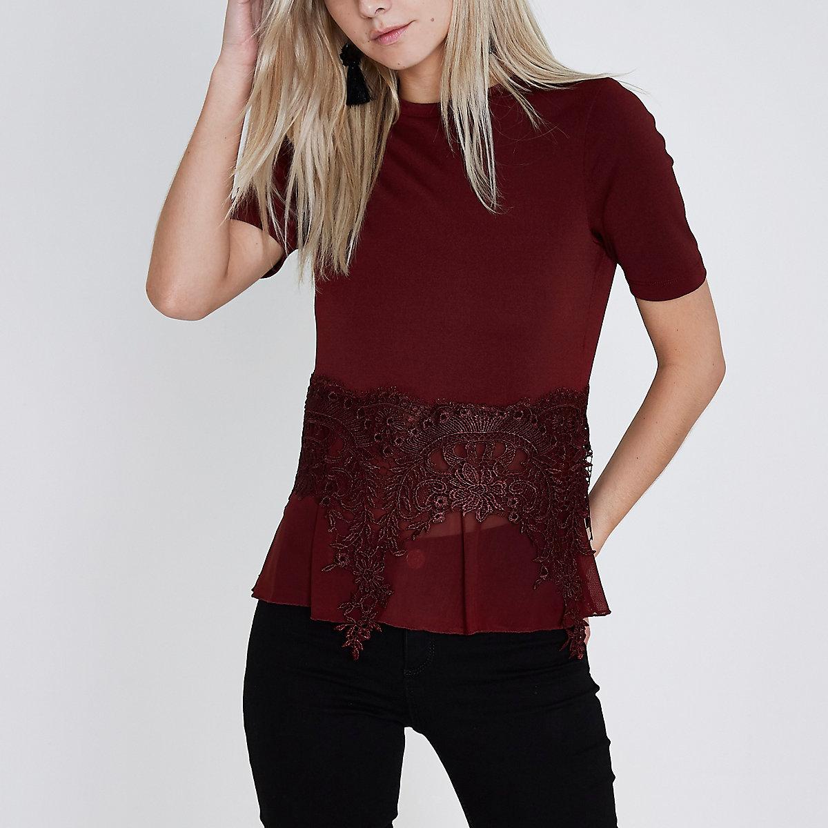 Petite burgundy lace sheer hem T-shirt