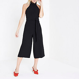 Petite black high neck culotte jumpsuit
