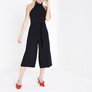 RI Petite - Zwarte hoogsluitende jumpsuit met broekrok