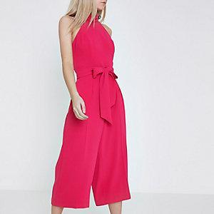 Petite pink halter neck culotte jumpsuit