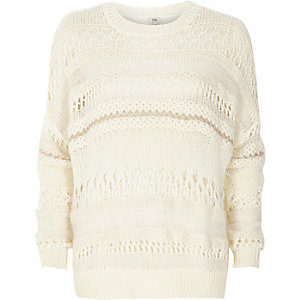 White mixed knit slouch jumper