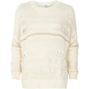 Witte ruime pullover met verschillende breisteken