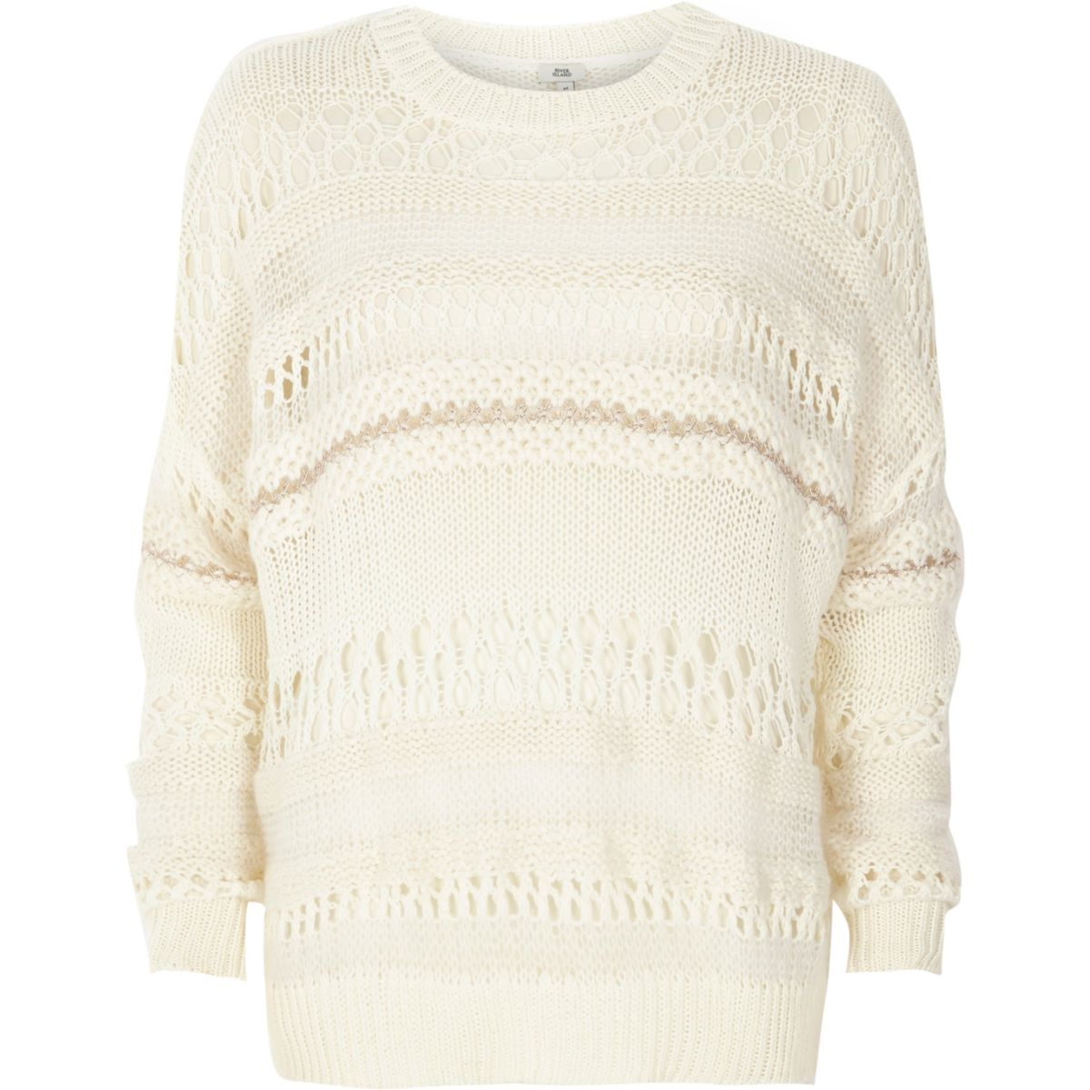 White mixed knit slouch sweater