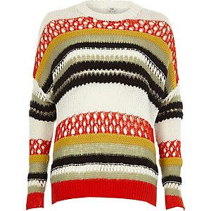 Oranje gestreepte pullover in meerdere kleuren en breistijlen