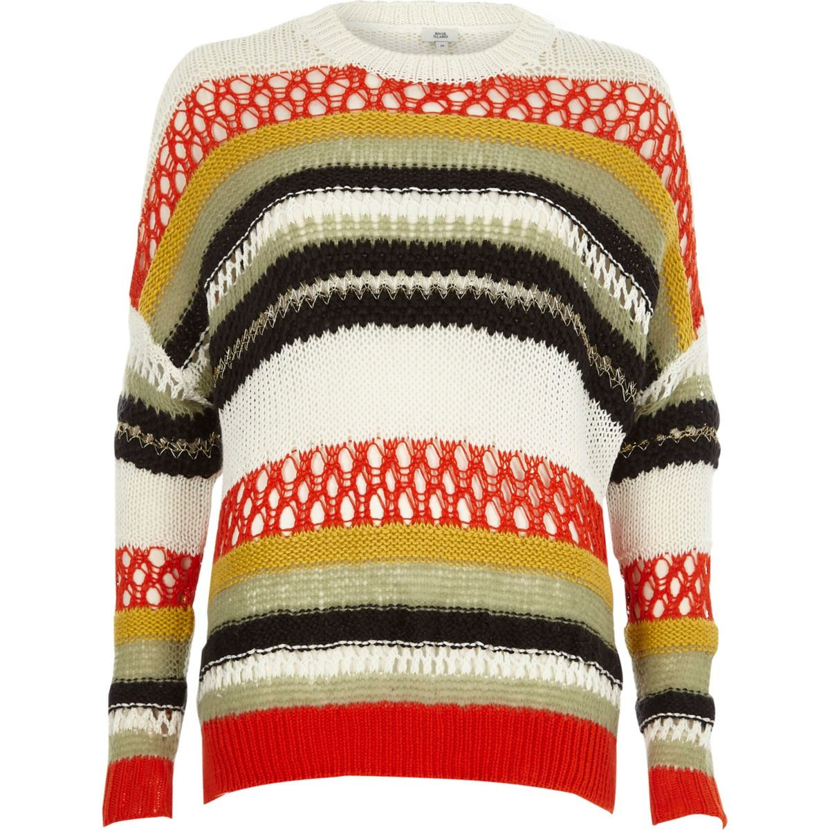 Orange multi color stripe mixed knit sweater
