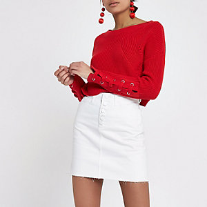 Cream high waisted raw hem denim mini skirt