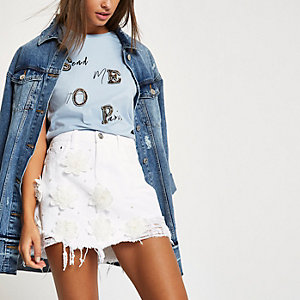 White lace 3D flower ripped denim skirt