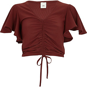 Dark red ruched front crop top