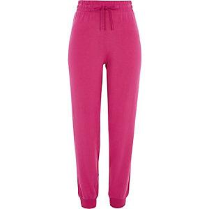 Jersey-Jogginghose mit geripptem Saum in Pink