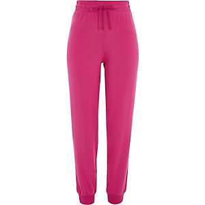 Pink rib hem jersey joggers