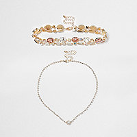 Gold tone jewel embellished choker set