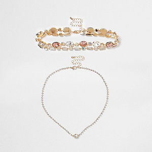 Gold tone jewel embellished choker set