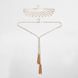 Gold tone diamante tassel necklace set