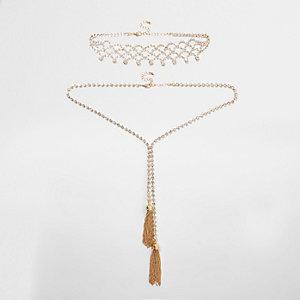 Gold tone rhinestone tassel necklace set