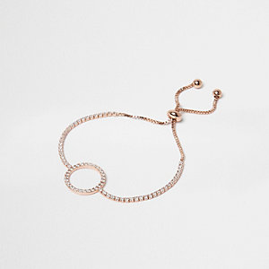 Rose gold tone pave circle lariat bracelet