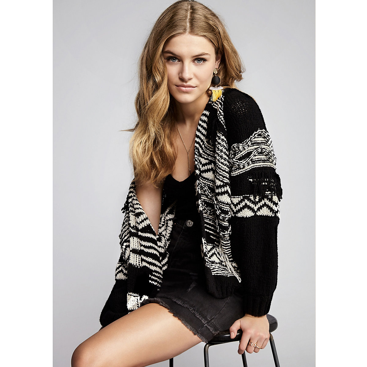 Black aztec knit open front cardigan