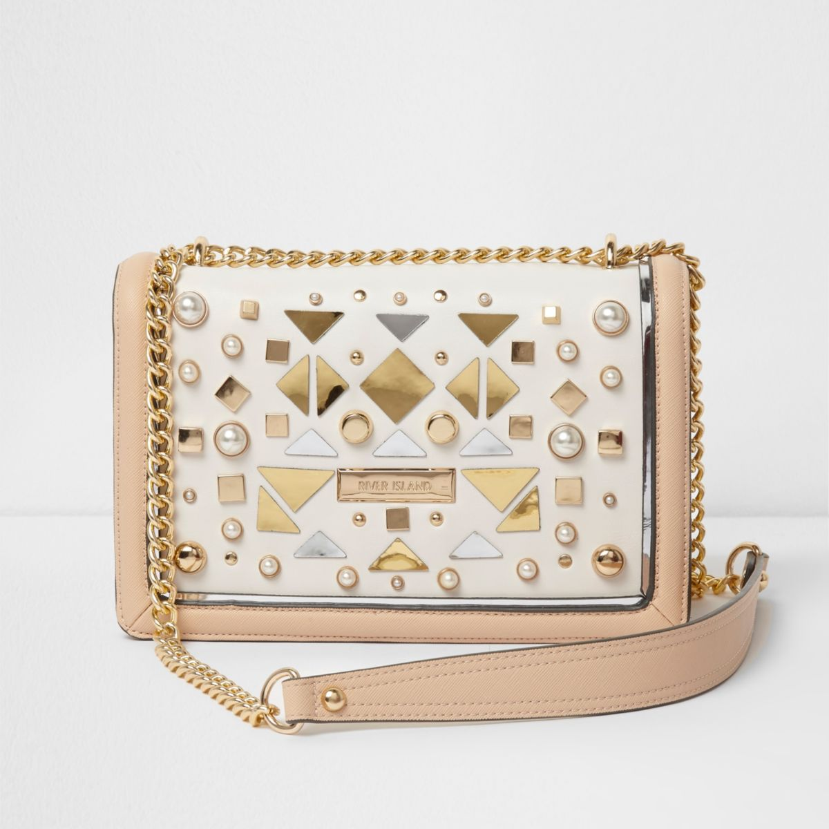 Beige studded faux pearl underarm chain bag