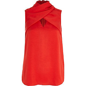 Red wrap neck sleeveless top