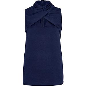 Blue wrap neck sleeveless top