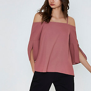 Dark pink bardot split sleeve top