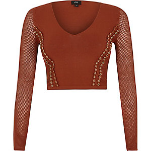 Crop top en maille pointelle orange à œillets et col en V