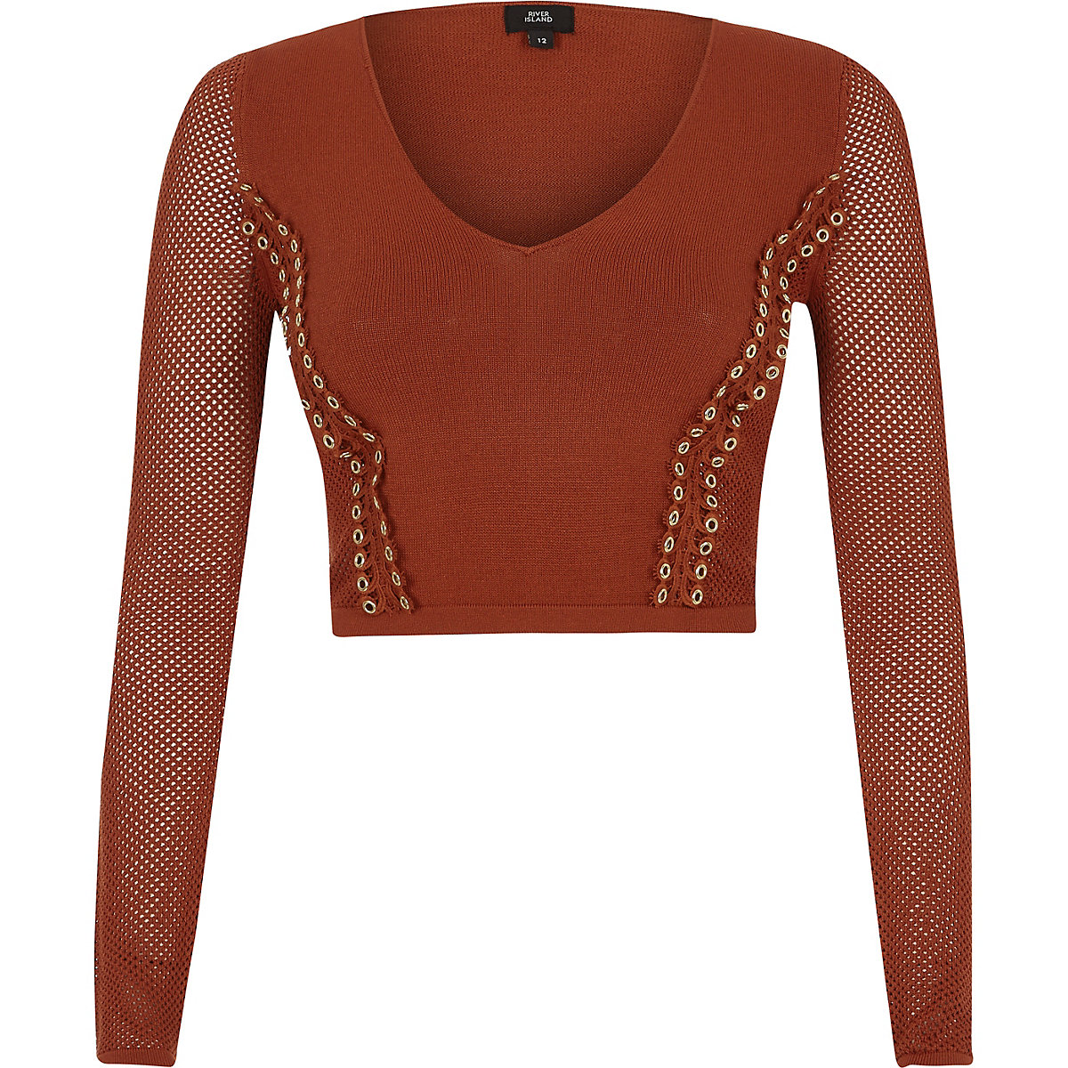Orange eyelet pointelle knit V neck crop top