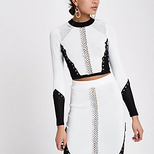 White blocked eyelet knitted crop top