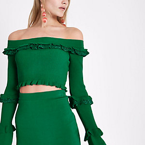 Green glitter knit frill bardot crop top