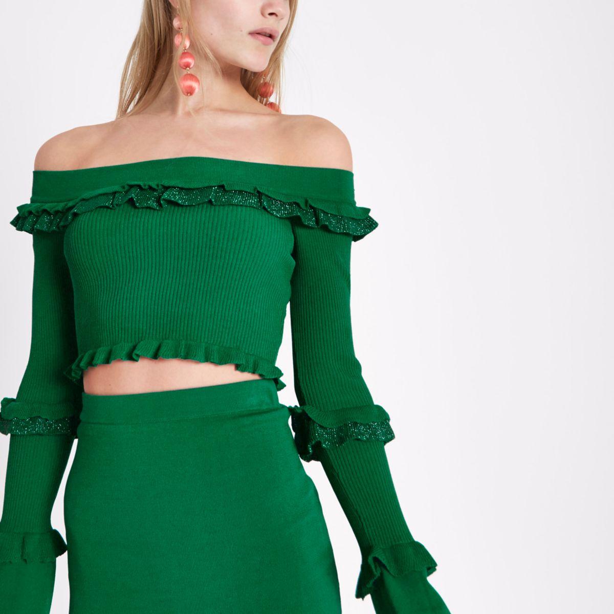Crop top Bardot en maille vert à paillettes et volants