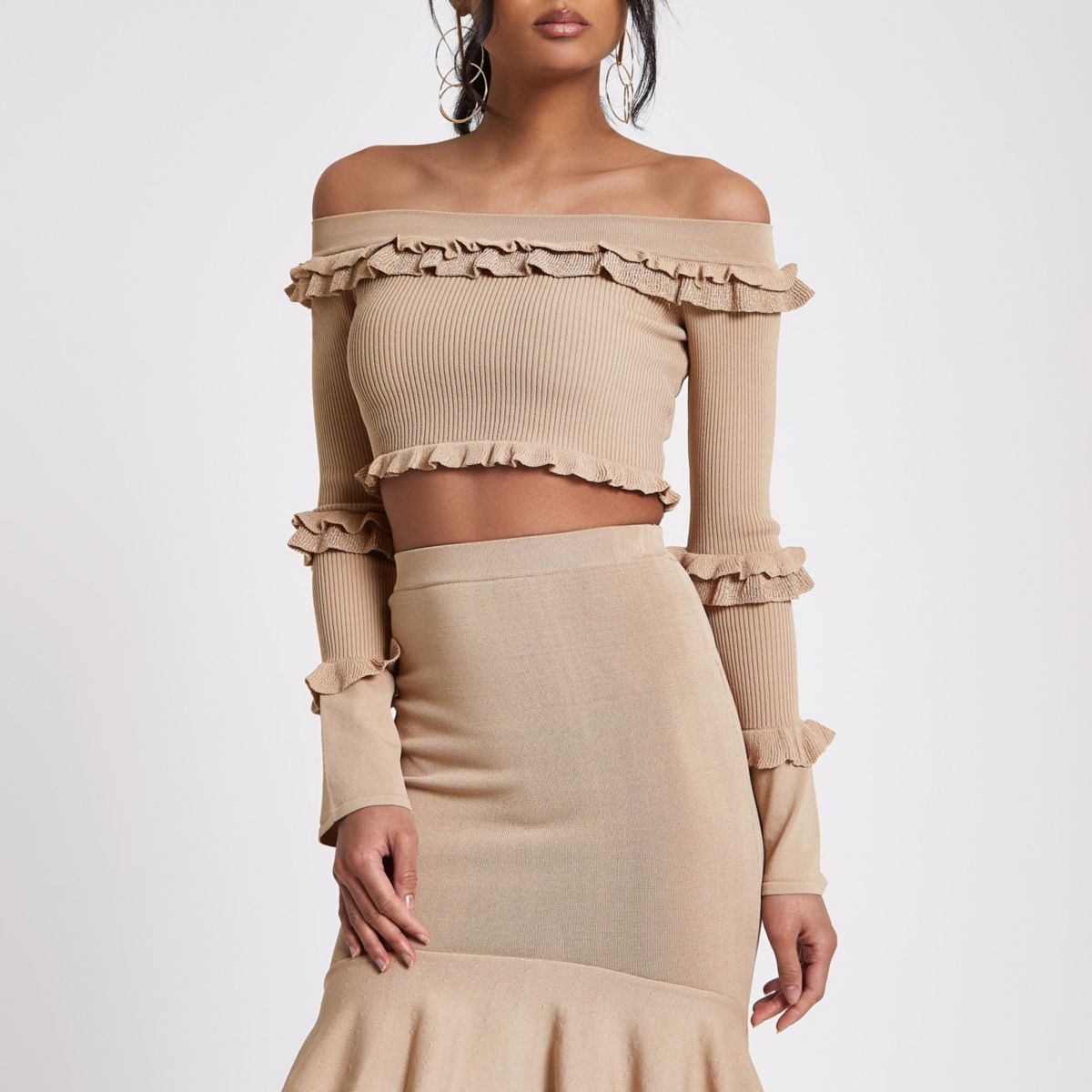 Beige frill knit bardot cropped top