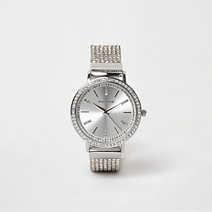 Silver tone heatseal rhinestone watch