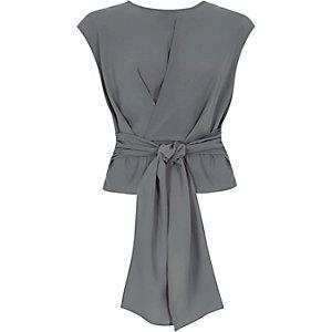 Dark grey tie front sleeveless top