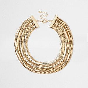 Gold tone chunky snake chain choker