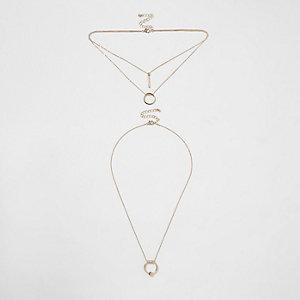 Gold tone circle pave necklace set