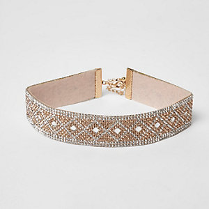 Gold tone heatseal diamante choker