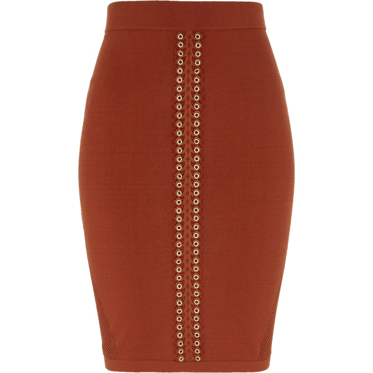 Orange eyelet trim pointelle knitted skirt