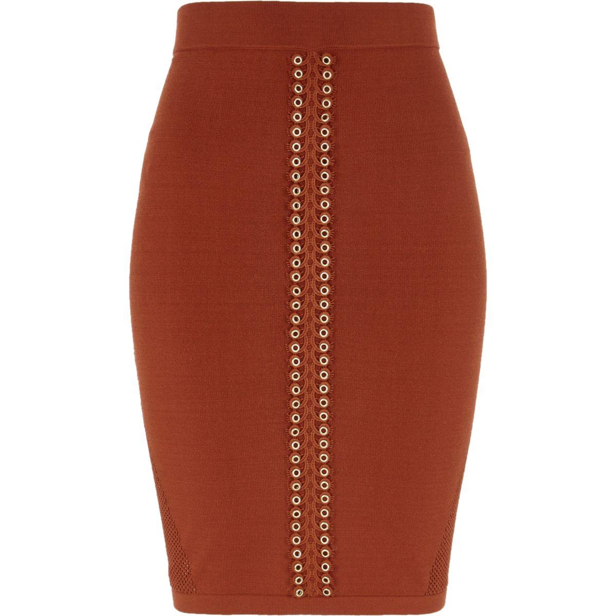 Orange eyelet trim pointelle knitted skirt